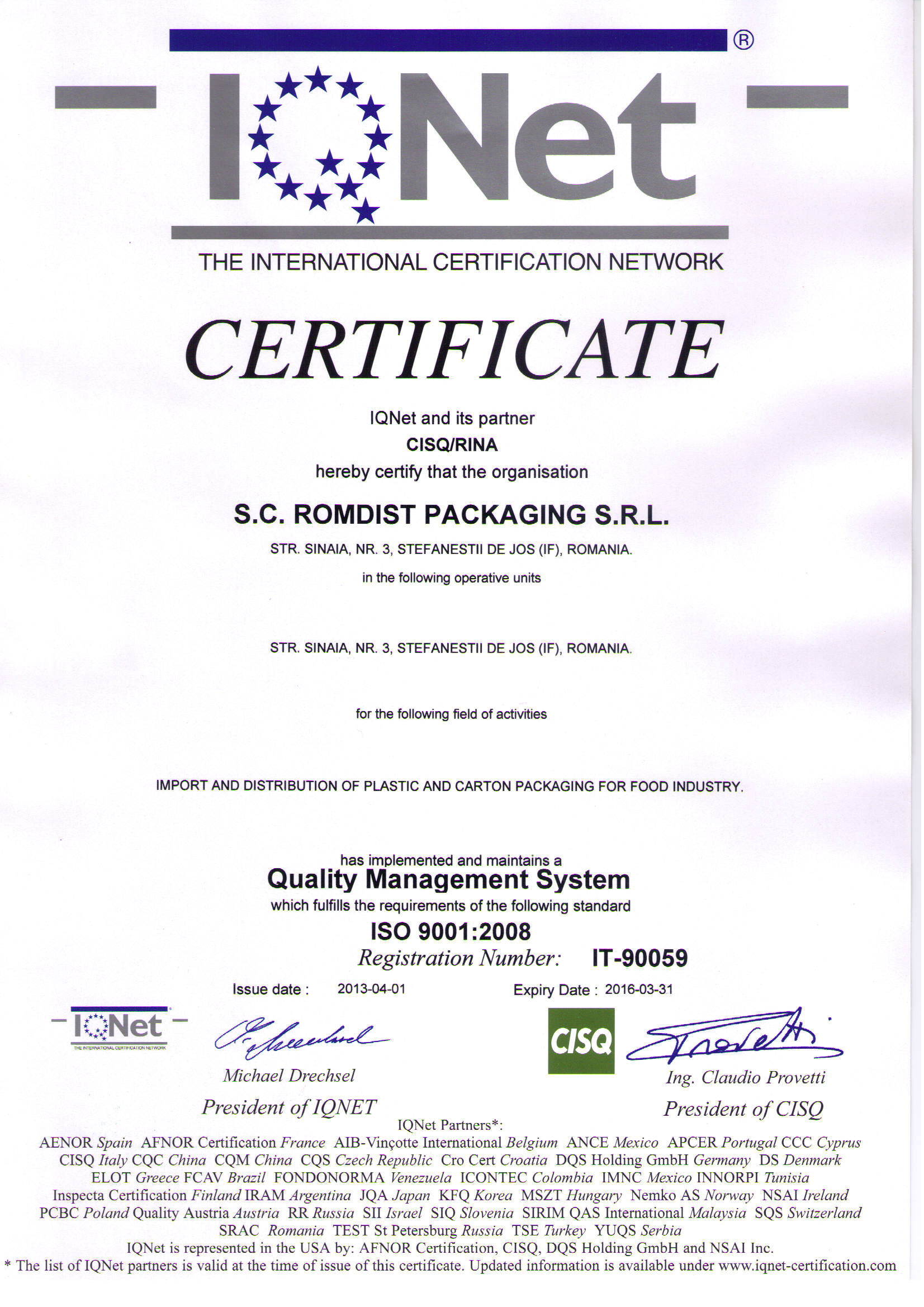 Certificare IQNet Romcup