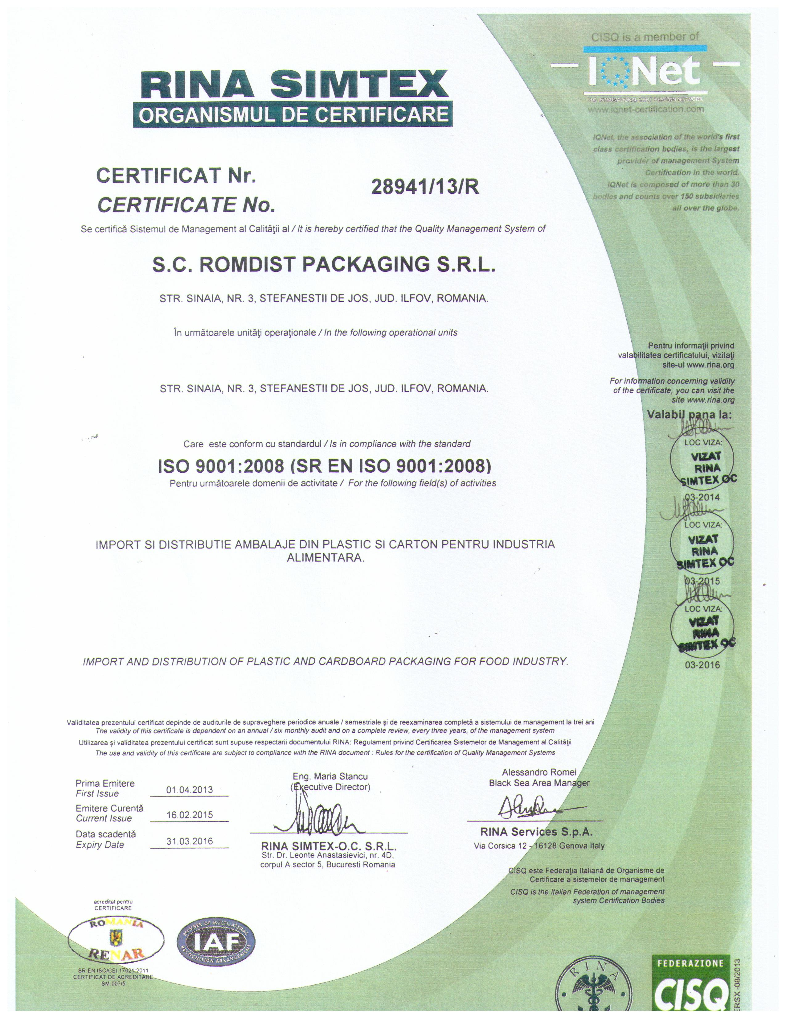 Certificare ISO9001 Romcup
